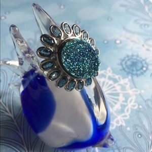London blue topaz with blue druzy ring
